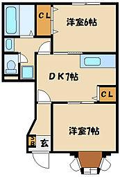 兵庫県明石市大久保町松陰の賃貸アパートの間取り