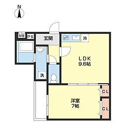 JR和歌山線 和歌山駅 徒歩9分の賃貸アパート 2階1LDKの間取り