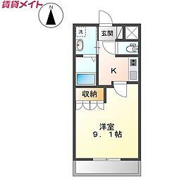 JR関西本線 加佐登駅 徒歩10分の賃貸アパート 2階1Kの間取り