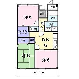 ジャン・ピュール2番館 4階3DKの間取り