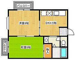千景ハイツ[1階]の間取り