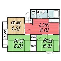 千葉県富里市七栄の賃貸アパートの間取り