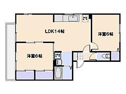 クレ−ジュ中村[2階]の間取り