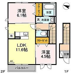 新築D-room亀井野2丁目[2階]の間取り