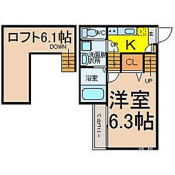 愛知県名古屋市千種区青柳町7丁目の賃貸アパートの間取り