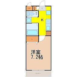 A・City鳴海 5階1Kの間取り