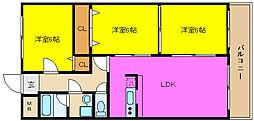 大阪府東大阪市本町の賃貸マンションの間取り