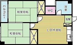 福岡県北九州市小倉北区篠崎3丁目の賃貸マンションの間取り