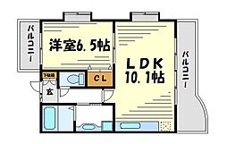 ラディウス武庫之荘[3階]の間取り