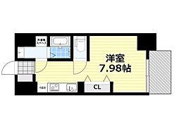 新梅田セントラルヒルズ 6階ワンルームの間取り
