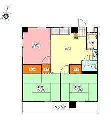 第2城見ビル[302号室]の間取り