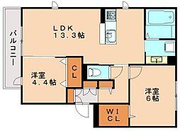 D-room若久[1階]の間取り