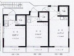 ジュネス久米川[2階]の間取り
