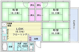 仙台市営南北線 愛宕橋駅 徒歩12分の賃貸アパート 1階3LDKの間取り