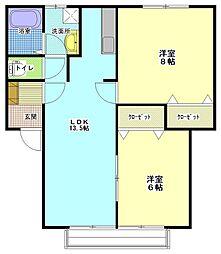 茨城県ひたちなか市東大島3丁目の賃貸アパートの間取り