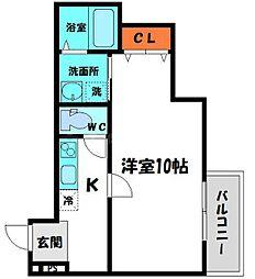 フジパレス京阪北本通 1階1Kの間取り
