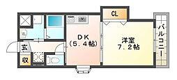 大阪府高槻市安満中の町の賃貸マンションの間取り