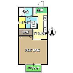 高知県高知市薊野西町3丁目の賃貸アパートの間取り