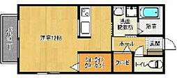 西鉄天神大牟田線 櫛原駅 徒歩4分の賃貸アパート 2階ワンルームの間取り
