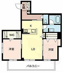 南海高野線 白鷺駅 徒歩15分の賃貸マンション 2階2LDKの間取り
