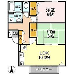 香川県高松市寺井町の賃貸アパートの間取り
