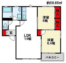 福岡県太宰府市観世音寺1丁目の賃貸アパートの間取り