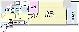 アスヴェル神戸元町II 2階1Kの間取り