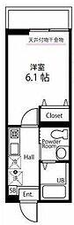 ハーミットクラブハウス大口通 2階1Kの間取り