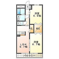 ブルースカイマンションVII[2階]の間取り