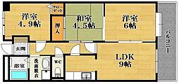 ファラン松原[4階]の間取り