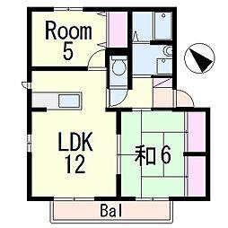 滋賀県栗東市綣1丁目の賃貸アパートの間取り