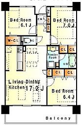レジデンスエクセラン[1階]の間取り