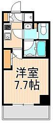 フュージョナル千住大橋 4階1Kの間取り