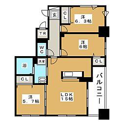北海道札幌市中央区北二条西19丁目の賃貸マンションの間取り