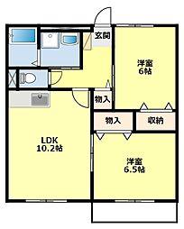 愛知県みよし市三好丘緑2丁目の賃貸アパートの間取り