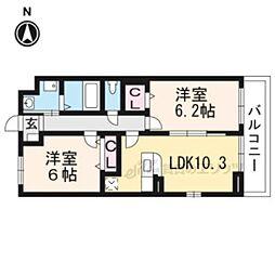 JR奈良線 新田駅 徒歩9分の賃貸アパート 1階2LDKの間取り