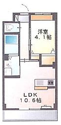 新築物件 カウンターキッチン付の日当たりの良いお部屋です。[2階]の間取り
