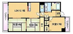Osaka Metro谷町線 都島駅 徒歩6分の賃貸マンション 6階3LDKの間取り
