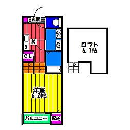 福岡県福岡市南区高木3丁目の賃貸アパートの間取り