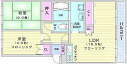向栄コーポ 1階2LDKの間取り