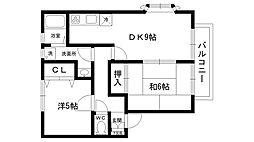 K'sハウス[202号室]の間取り