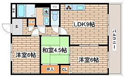 兵庫県神戸市須磨区大池町2丁目の賃貸マンションの間取り