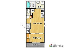 JR鹿児島本線 久留米駅 徒歩10分の賃貸アパート 2階1DKの間取り