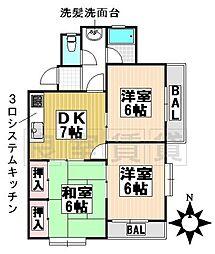 愛知県名古屋市千種区東山元町2丁目の賃貸マンションの間取り