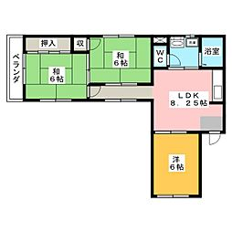 サンハイツ中央[2階]の間取り
