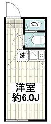 ユナイト横浜アカプルコ 2階ワンルームの間取り