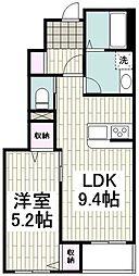 小田急江ノ島線 長後駅 徒歩15分の賃貸アパート 1階1LDKの間取り
