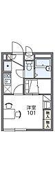 JR山陽本線 庭瀬駅 徒歩14分の賃貸アパート 1階1Kの間取り