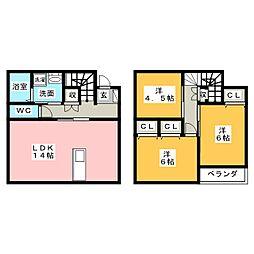 [テラスハウス] 静岡県浜松市西区馬郡町 の賃貸【静岡県 / 浜松市西区】の間取り