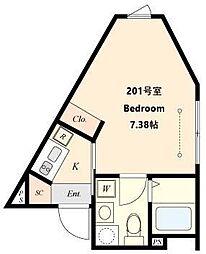 都営三田線 春日駅 徒歩4分の賃貸マンション 1階1Kの間取り